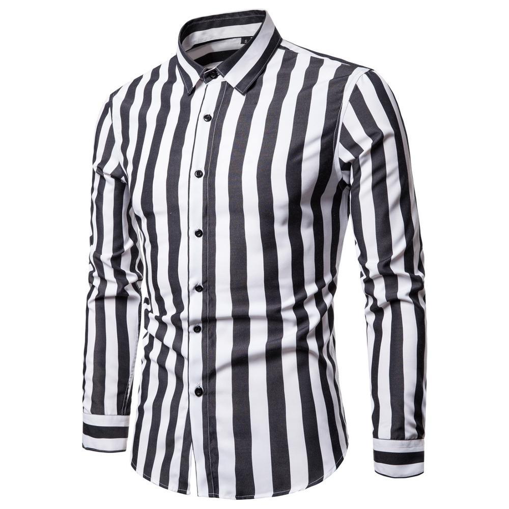 Men Shirt Long Sleeve  Casual Elegant Cotton Social Dress Man Shirts