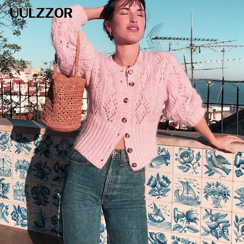 UULZZOR Sweater Women Hollow Out Crohect Knitted Cardigan Autumn Lady Sweater Long Sleeve High Waist Female Outwear Jumper 2019