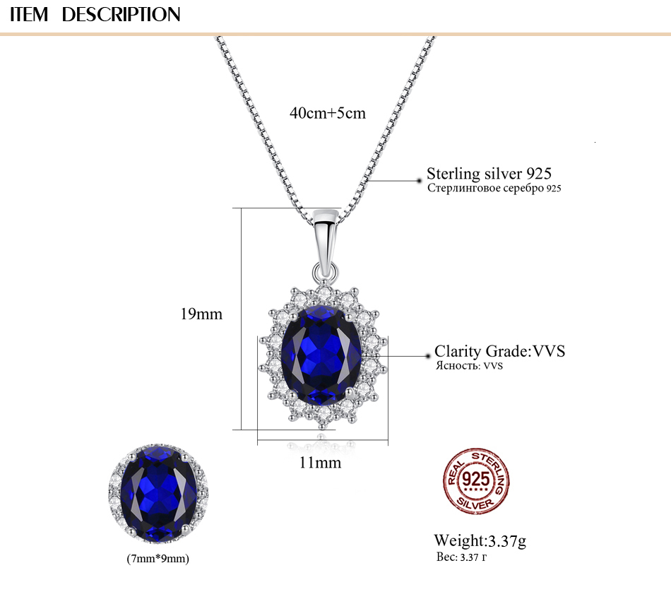 H1a706ca6245e409984851d49f52e829e9 CZCITY Elegant Oval Princess Diana William Sapphire Pendant Necklace for Women 100% 925 Sterling Silver Charms Necklace Jewelry