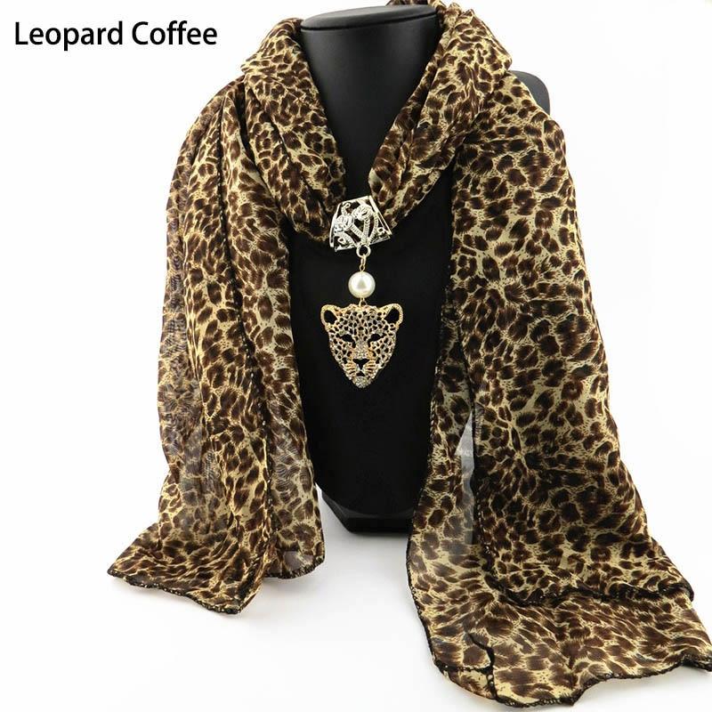 Noble Elegant Fashion Autumn Winter Ladies   Scarf   Leopard Head Owl Pendant Long   Scarf   Chiffon Female Shawls   Wraps   Women   Scarves