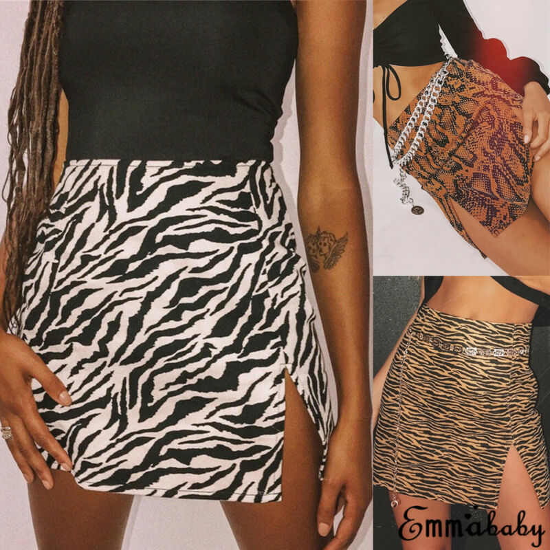 Ladies Skirts Short Slit Skin-Printed Leopard-Print Zebra Mini Women Stretch Snake Fashion