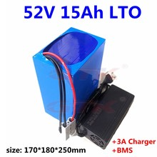 GTK LTO 51V 52v 15ah Lithium titanate batterie pack bms 22s pour 1000w 1500w ebike scooter chariot de golf + chargeur 3A(China)