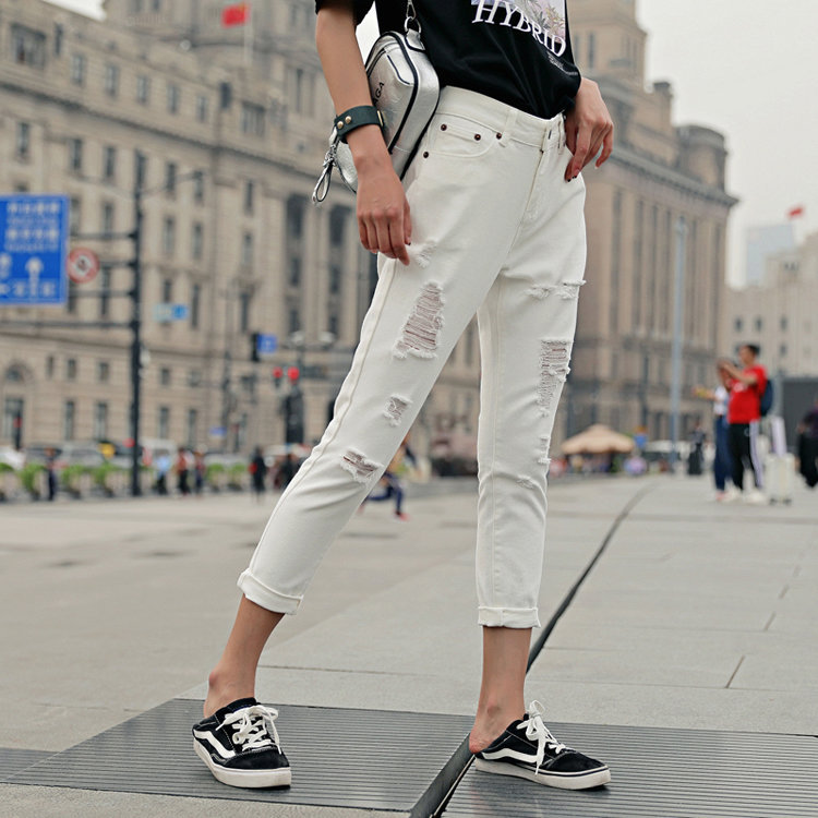 Korean-style Fashion WOMEN'S Dress Bao Ban With Holes Cowboy Trousers Slimming Trend White Slim Fit Pants Casual Pants H4049