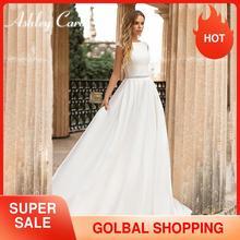 Ashley carol cetim a linha vestido de casamento 2020 elegante sem costas apliques colher frisado faixas vestidos de noiva simples vestido de novia