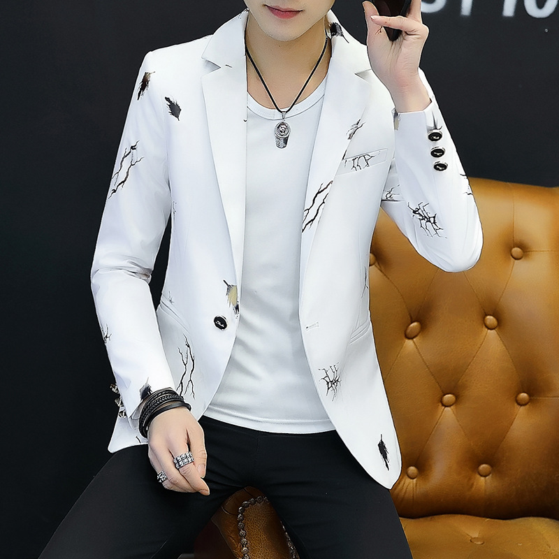 MEN'S Coat Korean-style Floral Small Suit Young MEN'S FASHION And Personality Trend Tops Casual Autumn Suit