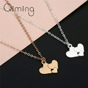 Three Hearts Bohemia Necklace For Ladies Girls Female Small Beautiful Family Jewelry For Women Retro Necklaces