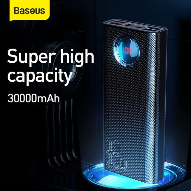 Baseus 30000mAh 전원 은행 PD SUB 3.0 빠른 충전 휴대용 충전기 33W Powerbank 여행 외부 배터리 팩 전화 노트북