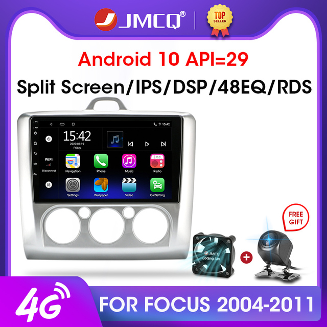 JMCQ Radio Multimedia con GPS para coche, Radio con reproductor, WiFi, 9 pulgadas, 2 Din, 4G +, Android 2004, unidad de navegación, 2 Din, para Ford Focus Exi MT AT 2011 8,1