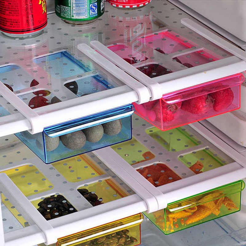 Trượt Bếp Tủ Lạnh Tiết Kiệm Không Gian Nhà Tổ Chức Ngăn Kéo Tủ Lạnh Bảo Quản Hộp Giá Trượt Dưới Kệ Giá Để Tổ Chức Giá Đỡ