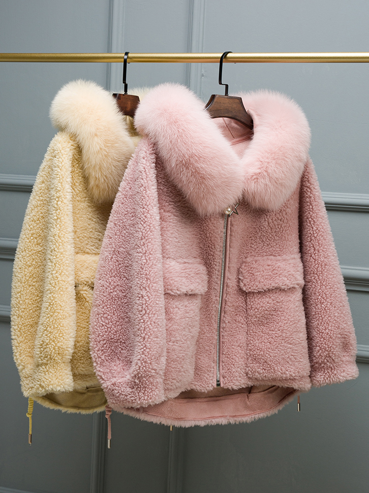 Coat Wool Real Female Sheep Shearling Fur Coats Winter Jacket Women Fox Fur Collar Korean Pink Jackets Chaqueta Mujer MY S S