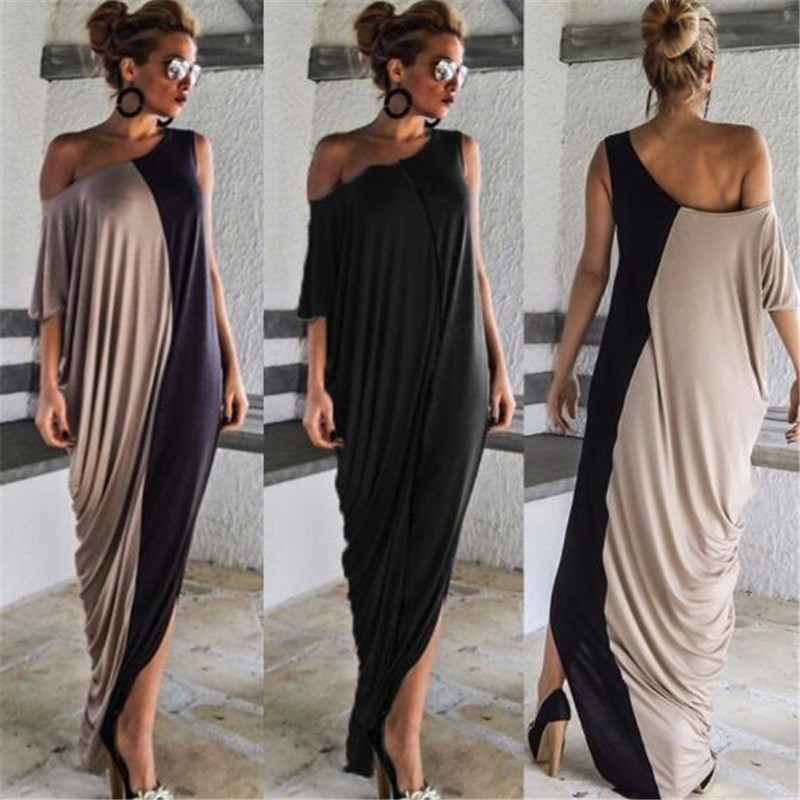 2020 Spring Splice Contrast Panel Women Dress Summer Casual Loose O Neck Short Sleeve Ladies Irregular Maxi Long Dress Vestidos