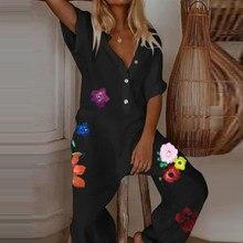 Macacão de linho feminino elegante, casual, decote em v, com botões, estampa de letras floral, pernas largas, macacão solto de grandes dimensões