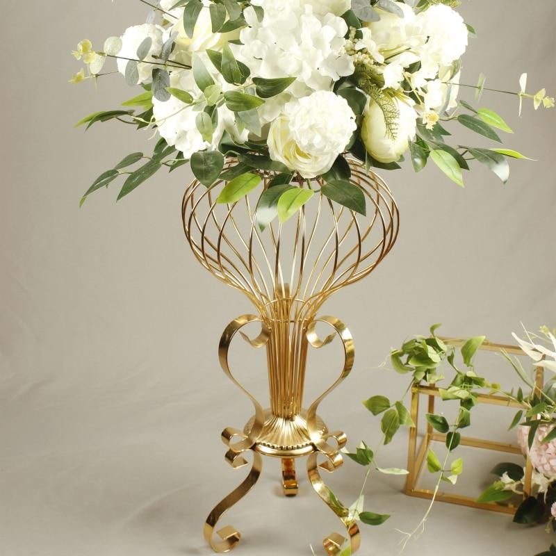 Wedding Decor Electroplating Wrought Iron Hollow Flower Stand Ornaments Silk Flower Wreath Table Flower Arrangement Road Lead