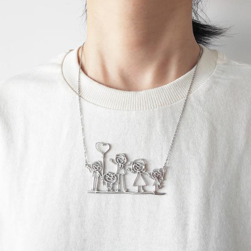 Custom Children Drawing Necklace Kid's Art Child Artwork Stainless Steel Choker Necklace Collares Jewelry Birthday Gift for Kid