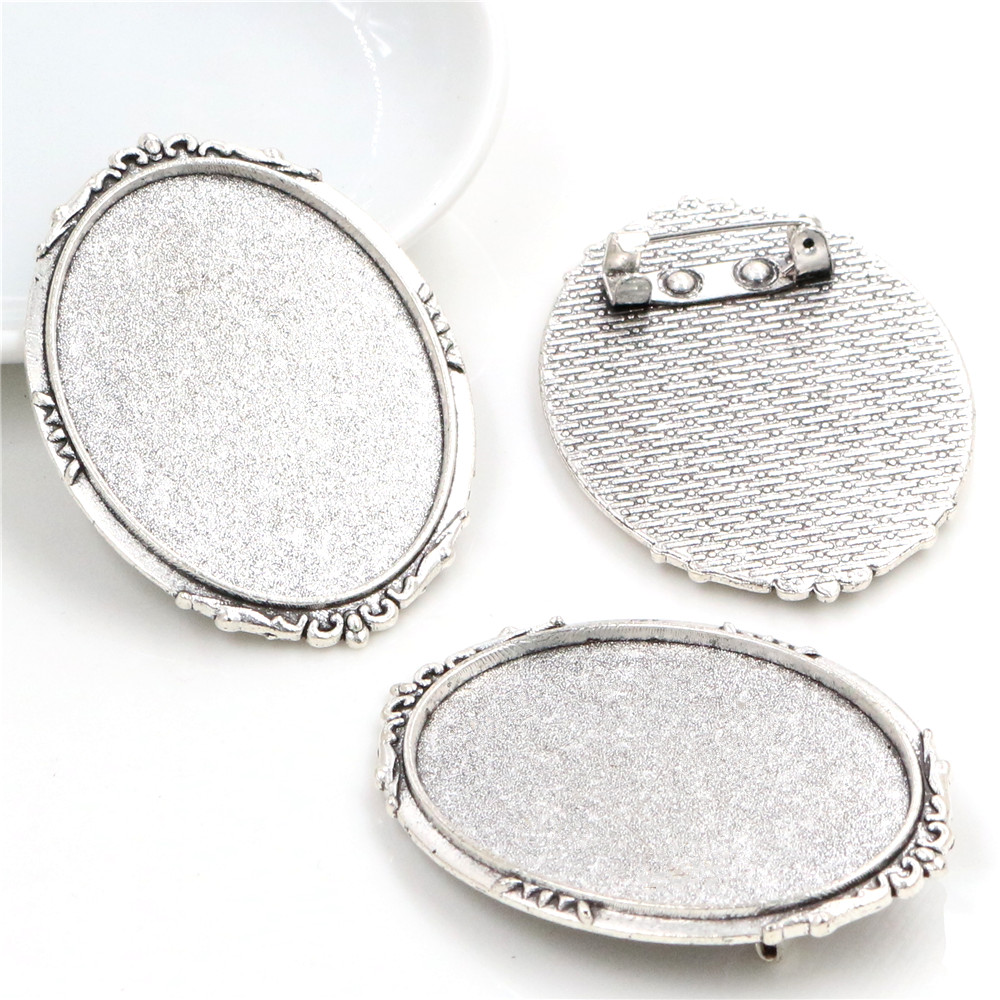 New Fashion  5pcs 30x40mm Inner Size Antique Silver Plated Pin Brooch Flowers Style Base Setting Pendant (B4-19)
