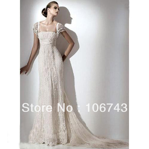 Free Shipping Louisvuigon 2016 New Style Sexy Cap Sleeve Bride Wedding Custom Size Long Lace Wedding Dress Vestido De Noiva