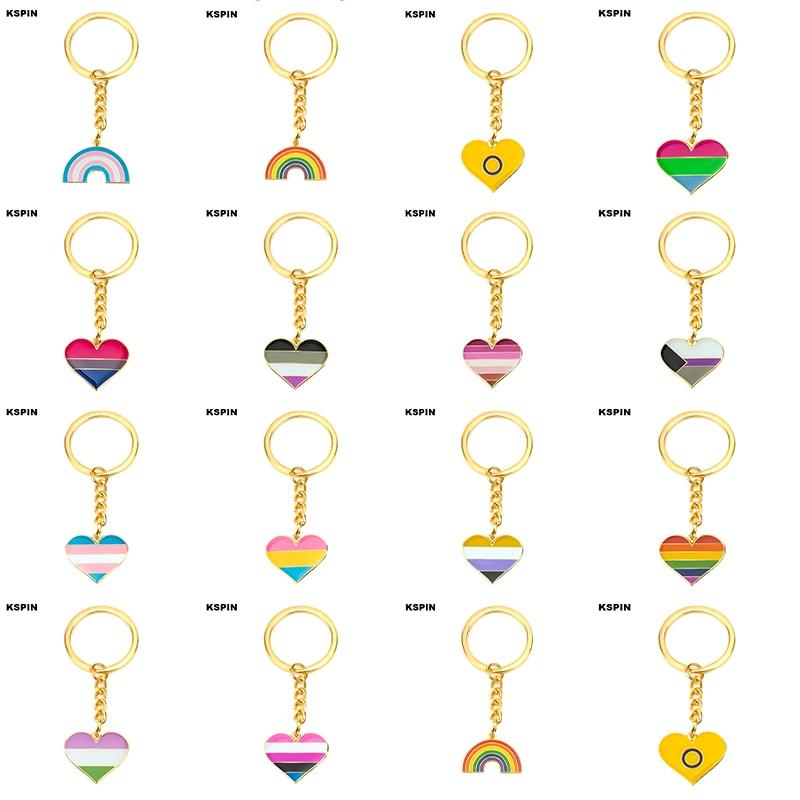 Асимметричный Радужный Би прайд, полусексуальная гордыня, кольцо для ключей, отворот, булавка, значок с флагом, брошь, значки