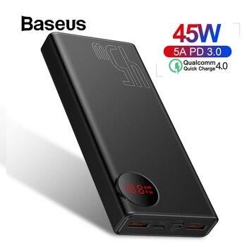 Baseus 20000mAh banco de energía USB PD de carga rápida Powerbank para iPhone 11 Pro Max Xiaomi carga rápida 4,0 3,0 batería externa