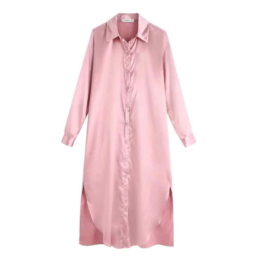 ZA נשים שמלת 2019 חורף סתיו מתכת צבע רעיוני אלגנטי שיק ליידי ארוך שמלות חולצה שמלה בסגנון