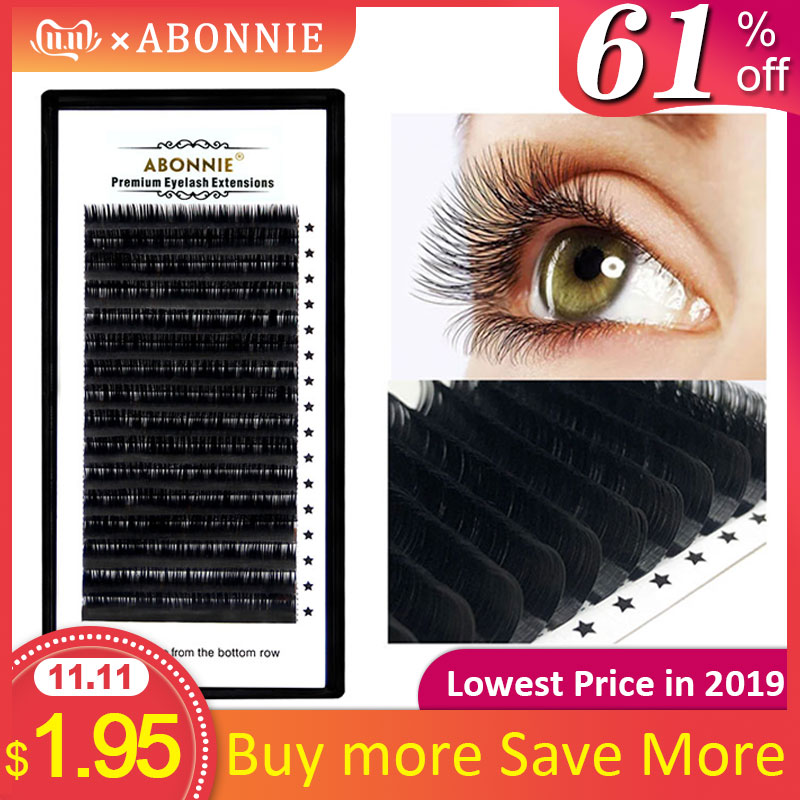 New Arrived 16rows/case 7~17mm Mix One Tray Natural Synthetic Mink,Individual Eyelash Extension Makeup Cilia Professional Lashes