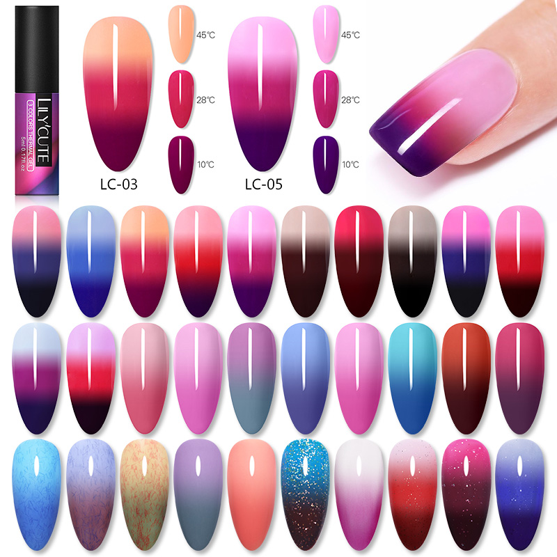 LILYCUTE 5ml Color Changing Gel Polish 3-layers Long Lasting Glitter Thermal Soak Off UV LED 5ml Gel Nail Art Varnish