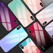 Gradient Tempered Glass Cases For iPhone X XS Max XR 7 8 6 6s Plus Glossy Fashion Ultra Thin Back Cover Fundas