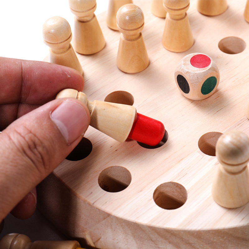 Memory Match Toys Stick Game Chess Cognitive Fun Puzzle Geometric-Shape Kids Wooden Educational-Color