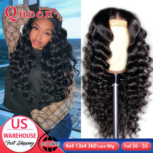 Loose Deep Wave Lace Front Human Hair Wigs Brazilian 100% Human Hair Wigs 360 Lace Frontal Wig For Black Women Swiss Lace Queen(China)