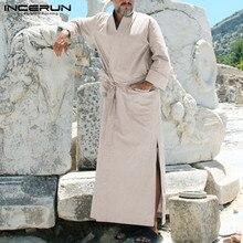 Men Robes Kaftan Nightgown Homewear Long-Sleeve INCERUN V-Neck Striped Hem Pockets Muslim