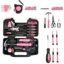 39pcs Pink Tool Set Household Tools Kit Box Mechanics with Hard Storage Case