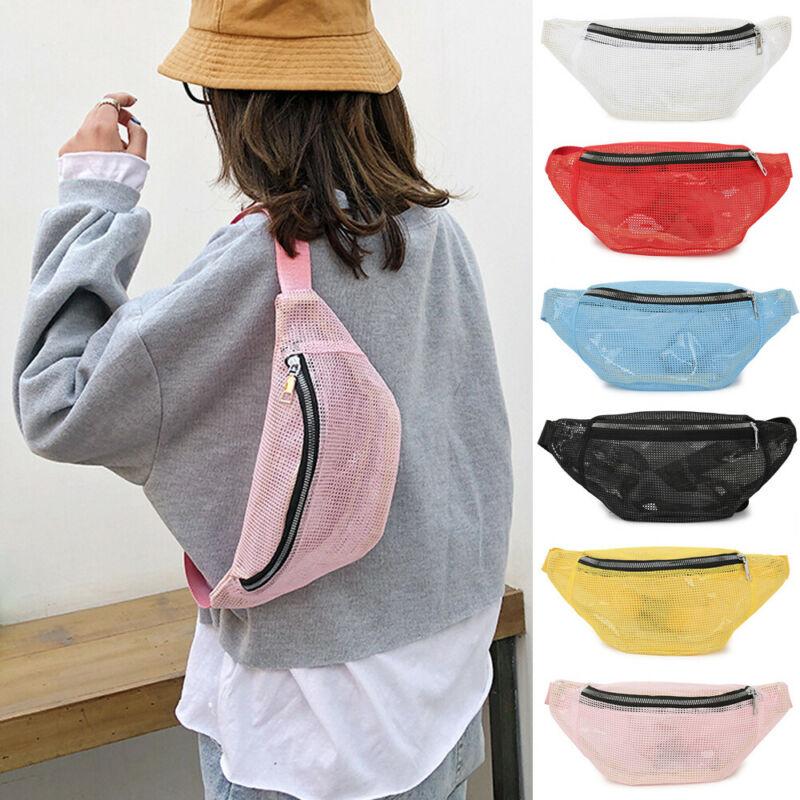 Men Women Fashion Waist Bum Bag Fanny Pack Belt Mesh Money Pouch Wallet Travel Hiking Bag UK