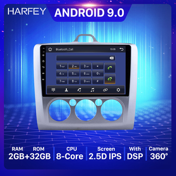 Harfey 9 inch 2Din GPS Multimedia Player Android 9.0 Car Radio For ford focus EXI MT 2 3 Mk2 2004 2005 2006 2007 2008 2009-2011 image