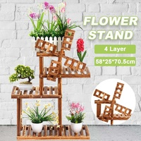 Wooden Flower Rack Plant Pots Stand Multi Flower Stand Shelves Bonsai Display Shelf Yard GardenOurdoor Indoor