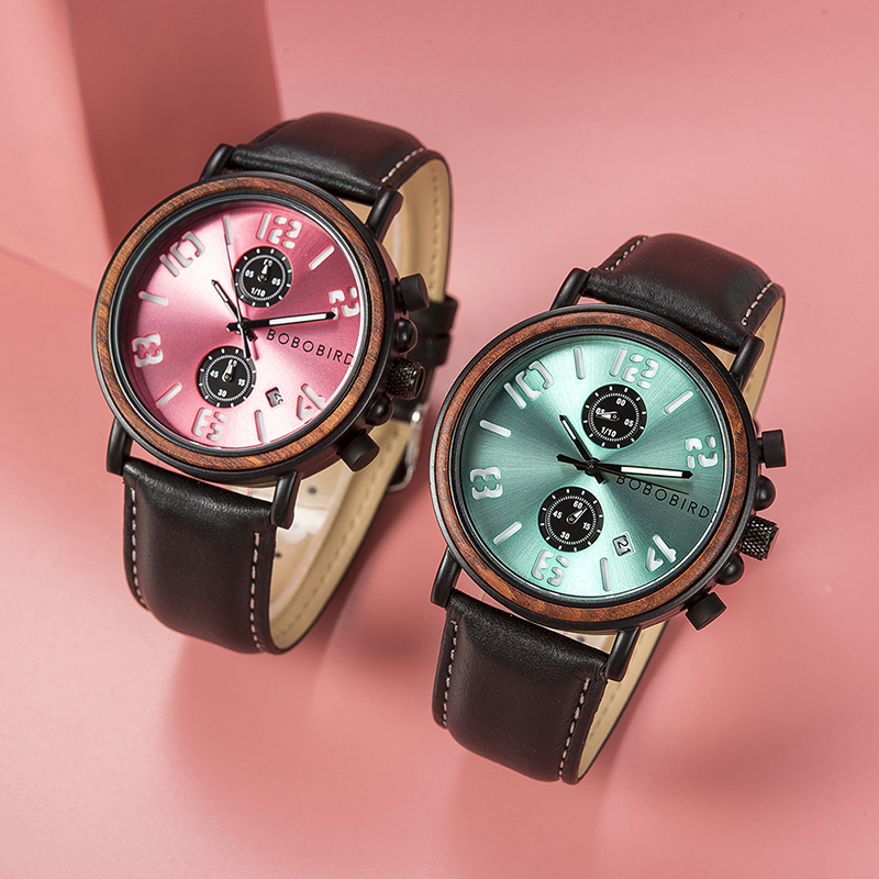 Relogio Masculino BOBO Bird Wood Watch Men Quartz Watch Date Display waterproof Wristwatch Luminous Hand Clock With Wooden Box in Quartz Watches from Watches