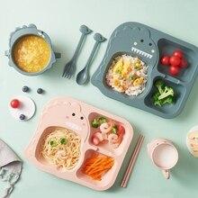 Bowl Plate-Fork Tableware Feeding-Dishes Dinner-Plate Dinosaur Bamboo Baby Kids Spoon