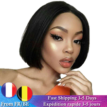Short Wigs Lace-Wig Human-Hair Natural-Color Peruvian Black Straight for Wome