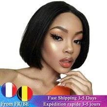 Pelucas de cabello humano Bob corto, peluca de cabello humano liso peruano, peluca de encaje para mujeres negras, Color Natural 2 #4 #, cabello Remy marrón