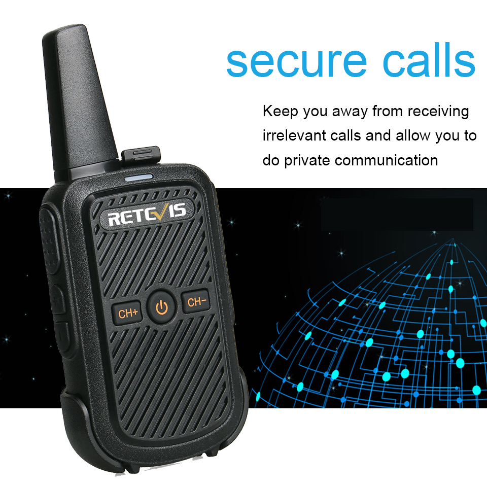 Retevis RT15 Mini Walkie Talkie 2W UHF 400-470MHz 16CH CTCSS/DCS TOT VOX Scan Two Way Radio Communicator