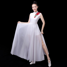 Classical Dance Clothes Women Stage Costume White Flamenco Dress Summer Gypsy Skirt Opening Dance Outfit Extoic Dancewear