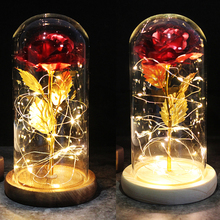 Beauty and the Beast Rose Eternal Rose LED Glass Dome Rose Red Rose Valentine's Day Mother's Day Birthday Special Romantic Gift red rose with fallen petals in a glass dome on a wooden base birthday gift beauty