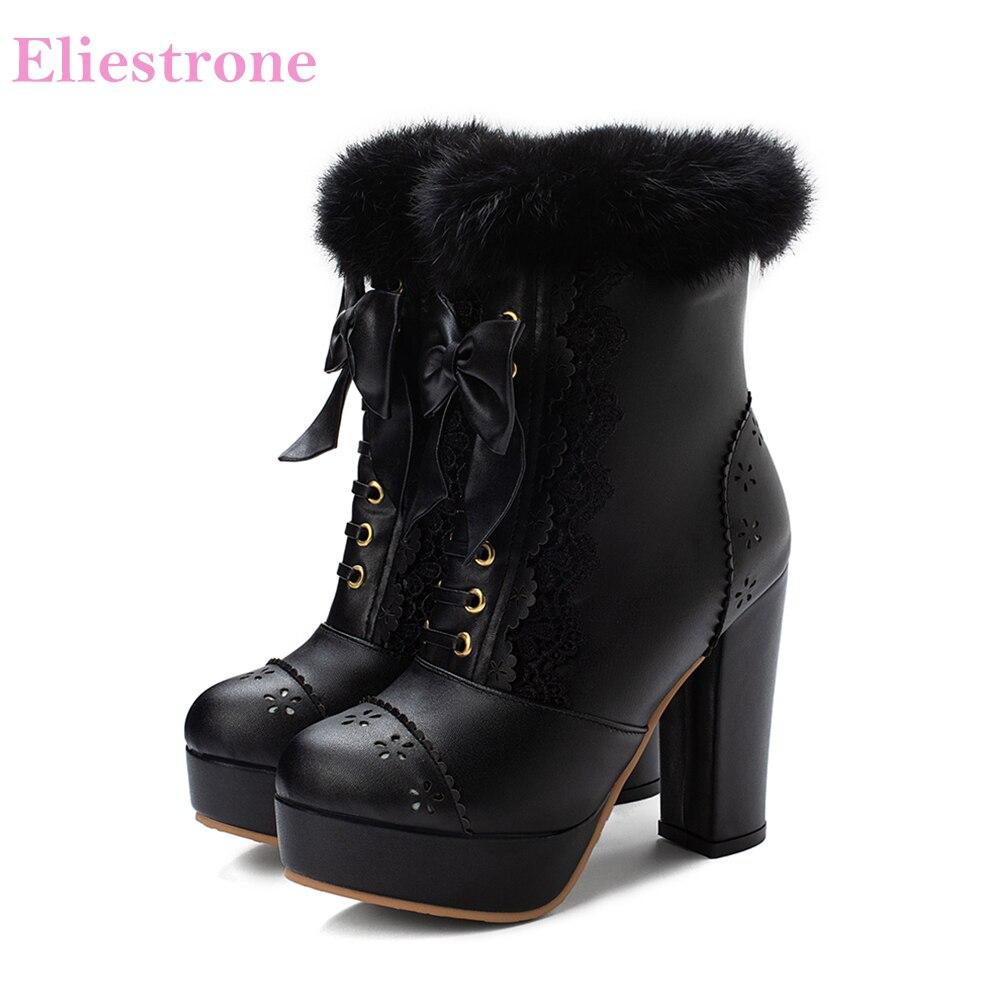 2019 nouvelle marque de fourrure douce noir violet plate-forme femmes bottines talons hauts école dame chaussures LA259 Plus grande taille 10 43 45 48