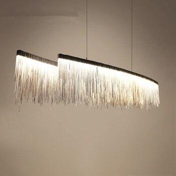 Современный итальянский дизайн железной цепи Бар led люстра освещение серебро люстра с кисточками роскошный свет для обеденного стола украш