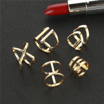 5Pcs/Set Gold Colour Rings Set For Women Geometric Irregular Ring Set Lady Charm Midi Rings Female Fashion Jewelry Wedding Gifts 1
