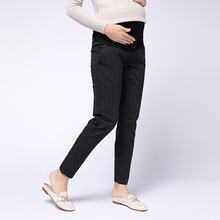 Autumn Maternity Stripet Pants Business Wear Warm Clothes Thickening Pregnancy Work