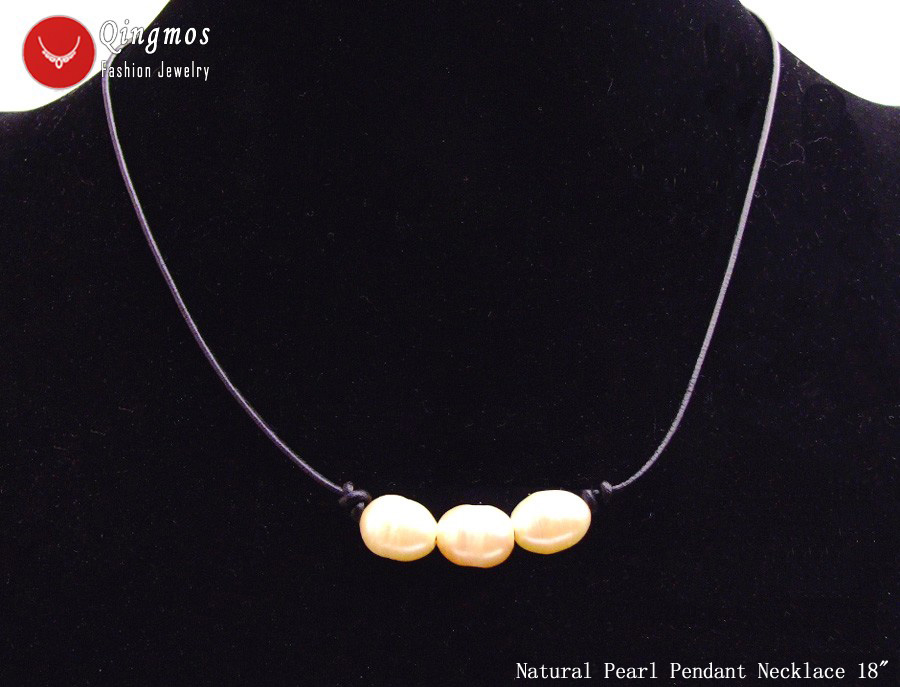 """White 10-11mm Rice Natural Freshwater Pearl Necklace for Women with 18/"""" Leather"""