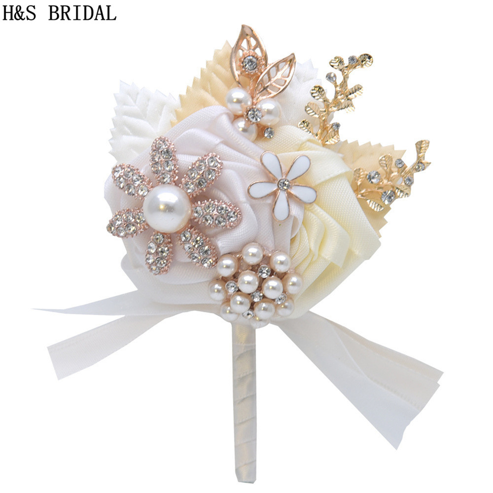 Ivory White Wedding Prom Corsage Ceremony Flower Brooch Wedding Boutonnieres Groom Groomsmen Buttonhole Flowers Boutonniere