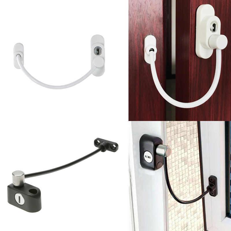 Urijk 1Pcs สีขาวหน้าต่างระบบรักษาความปลอดภัย Lock Restrictor เด็กความปลอดภัย Anti-Theft ล็อคสำหรับ Home เลื่อนประตูเฟอร์นิเจอร์ล็อค