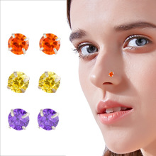925 Sterling Silver Nose Stud 8 Colors Mini Zircon Nail Europe And The Best Selling Piercing Jewelry Not Allergic