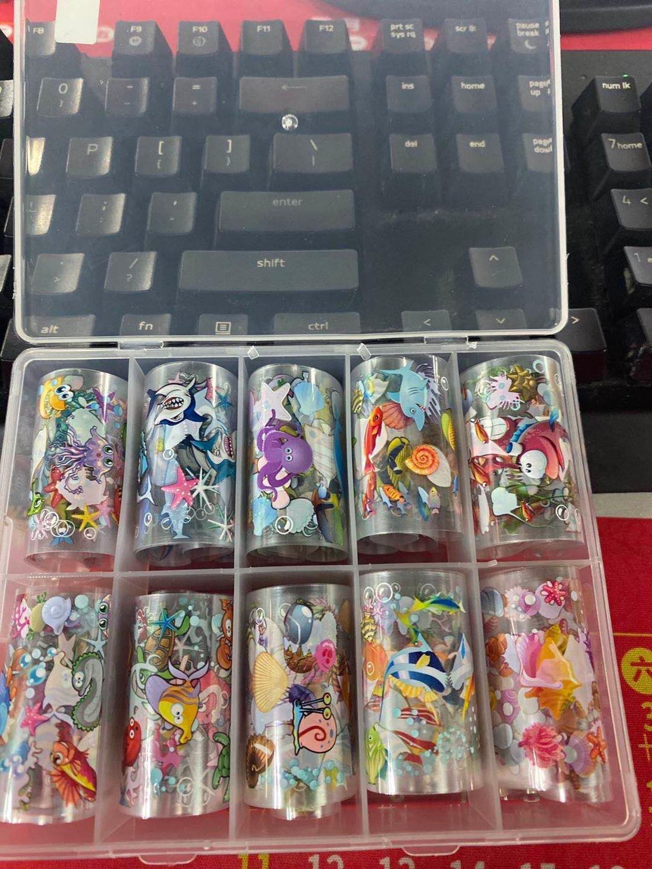 1 коробка 10 шт 100х4 см переводные наклейки из фольги для ногтей красочные бабочки цветы клей акриловая голографическая Сделай Сам XK1789