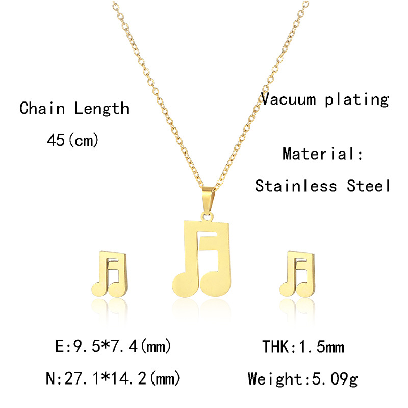 Violin Clef Stainless Steel Musical Notes Pendant